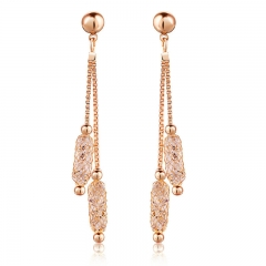 Luxury Champagne Gold Color Drop Earrings Wire Zircon Crystal Female Valentine's Day Gift Jewelry JSE020