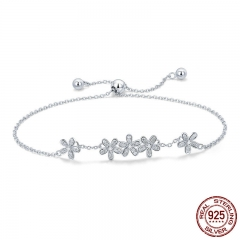 Genuine 925 Sterling Silver Luminous Daisy Flower Women Bracelets Clear CZ Fashion Bracelet Jewelry Making Gift SCB084