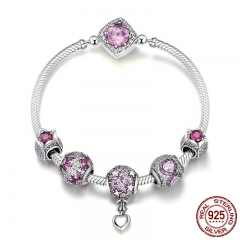 Authentic 925 Sterling Silver Pink CZ Infinity Flower Hot Air Balloon Bracelets & Bangles for Women Silver Jewelry SCB803