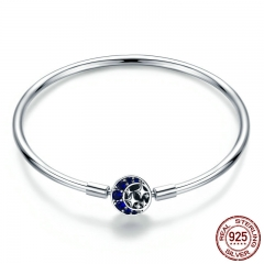 Genuine 100% 925 Sterling Silver Blue CZ Moon and Star Bracelet & Bangles for Women Sterling Silver Jewelry S925 SCB080 BRACE-0094