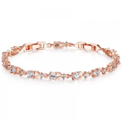 6 Colors Luxury Rose Gold Color Chain Link Bracelet for Women Ladies Shining AAA Cubic Zircon Crystal Jewelry JIB013 FASH-0035