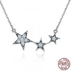 Genuine 100% 925 Sterling Silver Luminous CZ Star Secrets Pendant Necklaces for Women Sterling Silver Jewelry Gift SCN215 NECK-0144