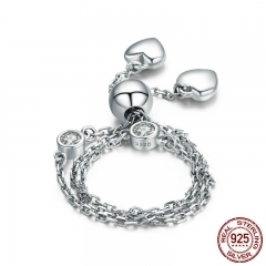 New Arrival Real 925 Sterling Silver Glittering Pave Heart CZ Bracelet Adjustable Link Chain Bracelets Jewelry SCB032