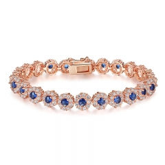 New Hot Sale Blue Crystals Luxury Fashion Gold Color Bracelet for Women Birthday Accessories JIB084