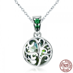 100% 925 Sterling Silver Green Crystal Tree of Life Tree Leaves Pendant Necklace for Women Silver Necklace Jewelry SCN197