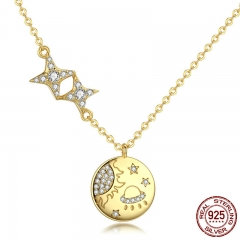 100% 925 Sterling Silver Secret Galaxy Gold Color Pendant Necklaces for Women Fashion Necklace Jewelry Making SCN281