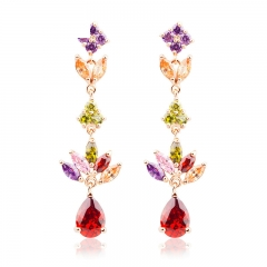 Gold Color Gold Unique Dangle Earrings with Multicolor AAA Zircon Stone Engagement Jewelry JIE021 FASH-0017