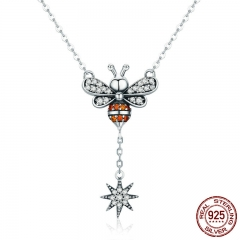 Hot Sale 100% 925 Sterling Silver Fashion Bee Clear CZ Snowflake Pendant Necklaces Women Sterling Silver Jewelry SCN221