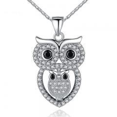 Vintage Owl Pendant Necklace with AAA Austrian Zircon White Gold Color Summer Collection Animal Jewelry YIN047