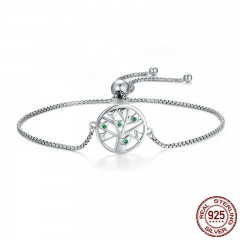 Hot Sale Genuine 925 Sterling Silver Tree of Life, Clear CZ Chain Link Bracelet Luxury Sterling Silver Jewelry SCB010