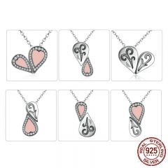 925 Sterling Silver Pink Heart Pendant Necklace 1 Style with 6 Kinds Wearing for Women DIY Multifunctional Jewelry SCN053