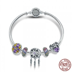 100% 925 Sterling Silver Dream Catcher Holder Heart Enamel Spacer Bracelets & Bangles for Women Silver Jewelry SCB809