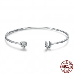 100% 925 Sterling Silver I Love You Clear CZ Heart Adjustable Cuff Bangle for Women Luxury Sterling Silver Jewelry SCB044
