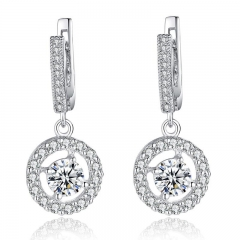 White Gold Color Big Oversized Drop Earring for Lady Elegant With Synthetic Zircon 0.6CM Clasp For Pierced Ear YIE077