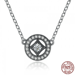 Authentic Stunning 925 Sterling Silver Vintage Dazzling Allure with AAA Zircon Necklaces & Pendants Jewelry PSN014