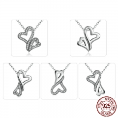 Real 925 Sterling Silver TWO Heart Pendant Necklaces for Women Fashion DIY Multifunctional Jewelry SCN054