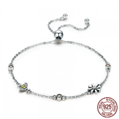 Spring Collection 100% 925 Sterling Silver Dancing Bee In Daisy Garden Women Chain Bracelet Fashion Jewelry Gift SCB061