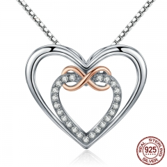 Authentic 925 Sterling Silver Elegant Infinity Love Double Heart Pendant Necklaces for Women Fine Jewelry Gift SCN121
