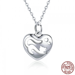 Sweet 925 Sterling Silver I Love Cat in Heart Shape Necklaces Pendants for Women Fashion Necklace Jewelry Gift SCN280
