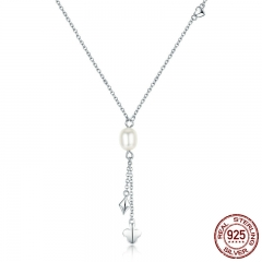 100% Authentic 925 Sterling Silver Fresh Water Pearl Poker Tassel Pendant Necklaces Pearl Necklace Jewelry Bijoux SCN077