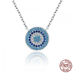 Popular 925 Sterling Silver Round Blue Crystal Lucky Blue Eyes Women Pendant Necklaces Authentic Silver Jewelry SCN099
