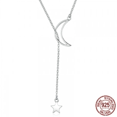 New Arrival Fashion 925 Sterling Silver Moon and Star Tales Chain Link Pendant Necklaces for Women Fine Jewelry SCN108