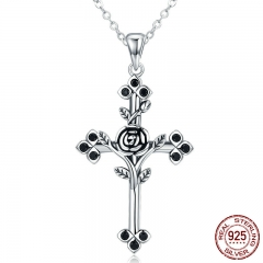 Authentic 925 Sterling Silver Rose Flower Leaf Cross Pendant Necklaces for Women Sterling Silver Jewelry Collares SCN091 NECK-0059
