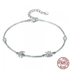 Genuine 100% 925 Sterling Silver Lobster Clasp Star And Moon Clear CZ Bracelet & Bangles for Women Silver Jewelry SCB081