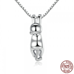 High Quality Smooth 925 Sterling Silver Lovely Cat Long Tail Necklaces & Pendants S925 Fine Jewelry SCN032