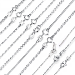 Classic Basic Chain 100% 925 Sterling Silver Lobster Clasp Adjustable Necklace Chain Fashion Jewelry