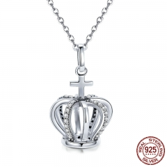 Fashion 925 Sterling Silver Women Princess Crown Queen Crown & Cross Pendant Necklaces Sterling Silver Jewelry SCN258