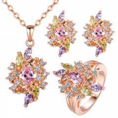 Luxury Gold Color Engagement Jewelry Sets with AAA Colorful Cubic Zircon for Women High Quality Bridal Jewelry