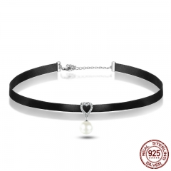 925 Sterling Silver & Black Braid Heart Pendant with Clear CZ Choker Necklace For Women Chocker Colar Jewelry SCN070