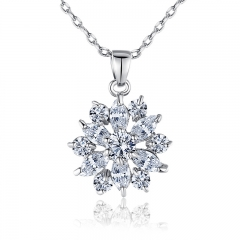 White Gold Color Necklaces Pendants with White AAA Cubic Zirconia For Women Birthday Gift JIN028