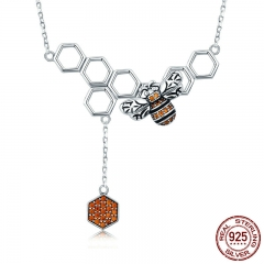 New Arrival 925 Sterling Silver Insect Bee Honeycomb Dangle Pendant Necklace for Women Sterling Silver Jewelry SCN216