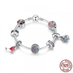 925 Sterling Silver Tropical Sunset, Summer Fun Flamingo & Mixed Enamel Charm Bracelet Sterling Silver Jewelry PSB010
