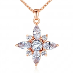 Brand Luxury Real Rose Gold Color Necklaces with AAA White Cubic Zirconia Pendants For Women Engagement JIN036