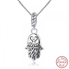 New 925 Sterling Silver Lucky Hamsa Pendant Necklace Women Fine Jewelry Birthday Gift CC031