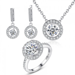 High Quality Silver Color Bridal Round Jewelry Sets for Women Wedding with High Quality AAA Zircon ZH006