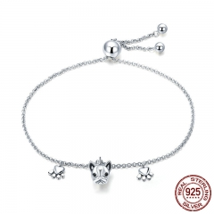 Genuine 925 Sterling Silver Trendy Bulldog Footprints Link Bracelets Clear CZ Fashion Bracelet Jewelry Making Gift SCB085