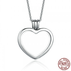 High Quality Genuine 925 Sterling Silver Heart Memories Floating Box Necklaces & Pendants Authentic Silver Jewelry PSF002