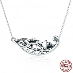 New Collection 925 Sterling Silver Fairy of the Forest Tree Leaves Pendant Necklaces Women Silver Jewelry Gift SCN254