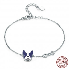 Hot Sale 100% 925 Sterling Silver French Bulldog & Dog Bone Lobster Chain Link Women Bracelet Silver Jewelry SCB064