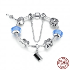 925 Sterling Silver Women Handbag, Heart Lock Key ,Light Blue Glass Beads Charm Bracelet Sterling Silver Jewelry PSB015