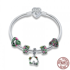 Real 925 Sterling Silver Spring Flower Colorful Enamel Charm Bracelets & Bangles for Women Sterling Silver Jewelry SCB804 BRACE-0108
