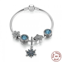 Summer Collection 925 Sterling Silver Blue Charm Bracelet With Radiant Hearts,Snowflake Jewelry PSB004