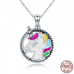 Trendy 925 Sterling Silver Pendant Memory Colorful Enamel Necklaces for Women Silver Necklace Jewelry Gift SCN266