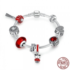925 Sterling Silver Chinese New Year Lantern,Doll, Clear CZ & Red Enamel Charm Bracelet Sterling Silver Jewelry PSB011