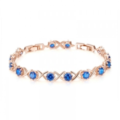 Trendy Gold Color Clear CZ Bracelets for Women Blue CZ Tennis Chain Link Women Bracelet Fine Silver Jewelry YIB042