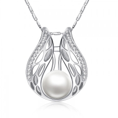 Silver Color Necklaces & Pendants with Paved Micro AAA Cubic Zircon Women Imitation Pearl Jewelry YIN026